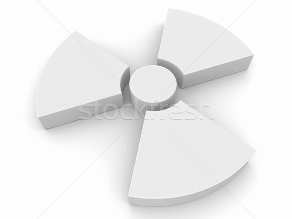 Radyoaktivite simge beyaz 3d render imzalamak plastik Stok fotoğraf © ThreeArt