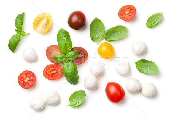 Tomates albahaca mozzarella aislado blanco superior Foto stock © ThreeArt