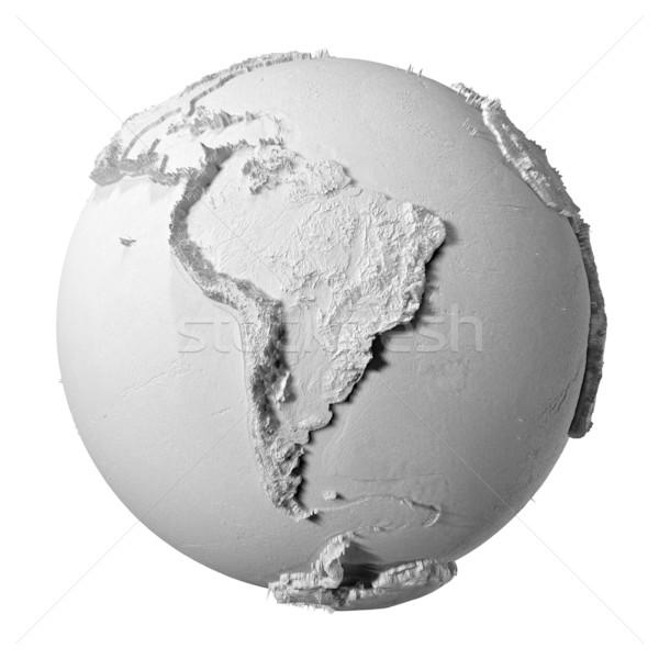 Szürke földgömb dél-amerika valósághű modell Föld Stock fotó © ThreeArt
