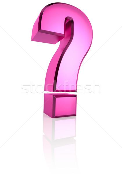 Rózsaszín kérdés szimbólum izolált fehér 3D Stock fotó © ThreeArt