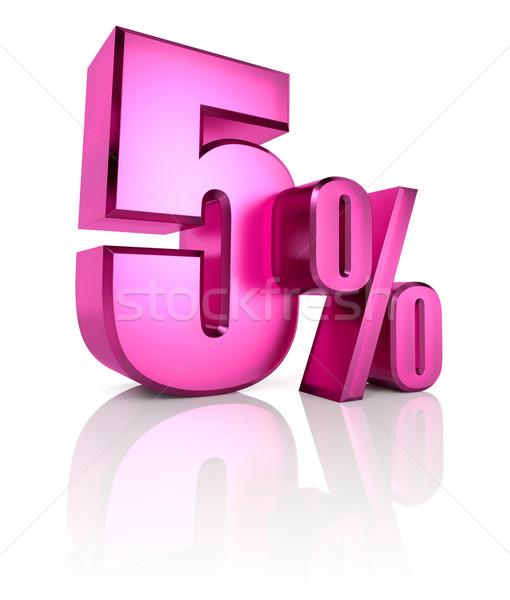 Cinco por cento assinar rosa isolado branco Foto stock © ThreeArt