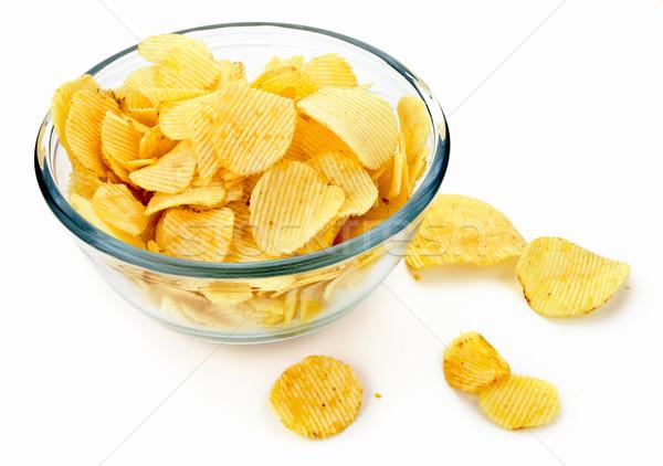 Foto stock: Batatas · fritas · vidro · tigela · branco · alimentação · rápido