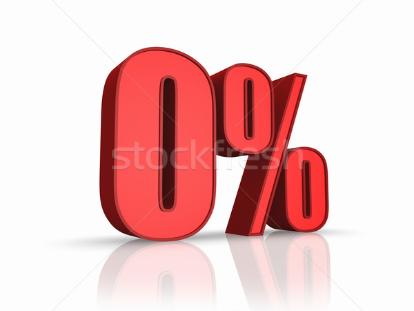 Vermelho zero por cento isolado branco financiar Foto stock © ThreeArt