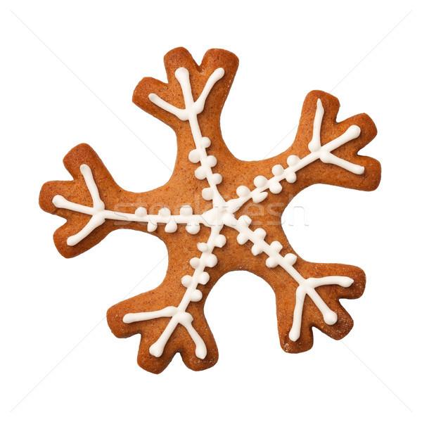 Zencefilli çörek kar tanesi kurabiye yalıtılmış beyaz üst Stok fotoğraf © ThreeArt