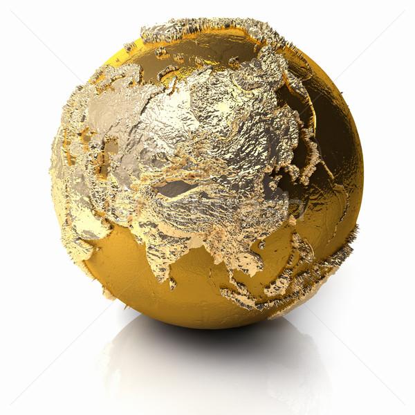 Altın dünya Asya gerçekçi topografya ışık Stok fotoğraf © ThreeArt