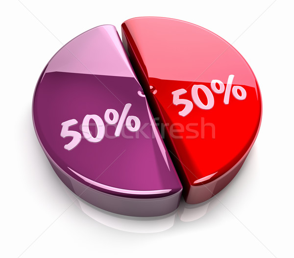Pie Chart 50 - 50 percent Stock photo © ThreeArt