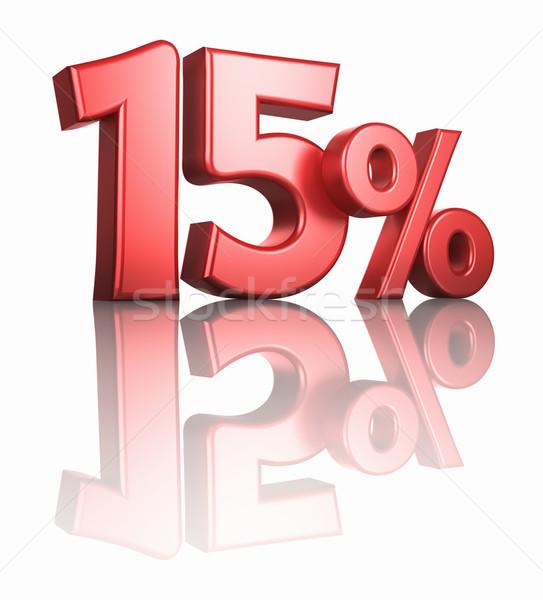 Fényes piros tizenöt százalék fehér tükör Stock fotó © ThreeArt