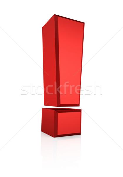 3D rojo signo signo de admiración aislado blanco Foto stock © ThreeArt