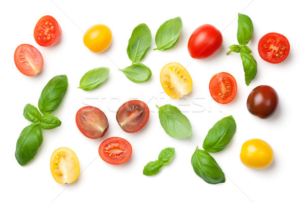 Tomatoes and Basil Leaves Isolated on White Background Stock photo © ThreeArt