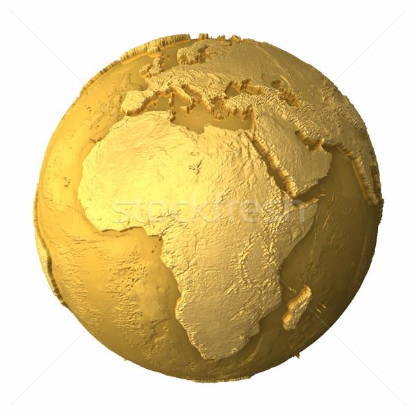 Goud wereldbol afrika metaal aarde realistisch Stockfoto © ThreeArt