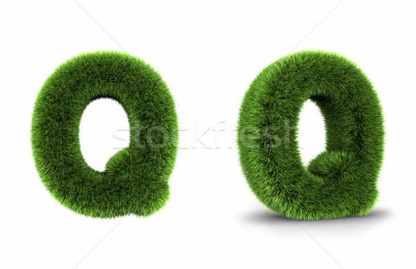 трава буква q изолированный белый весны лет Сток-фото © ThreeArt