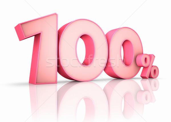 Roze honderd procent geïsoleerd witte 100 Stockfoto © ThreeArt