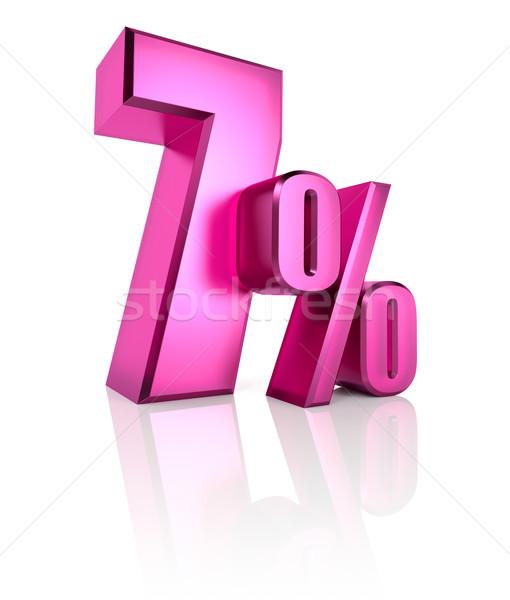 Sete por cento assinar rosa isolado branco Foto stock © ThreeArt