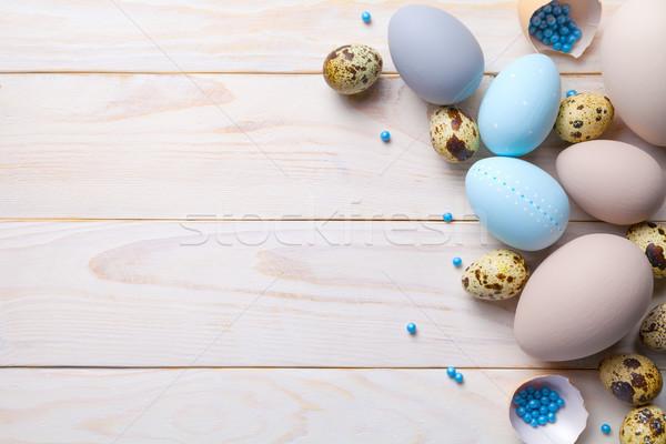 Pâques œufs de Pâques espace de copie haut vue printemps Photo stock © ThreeArt
