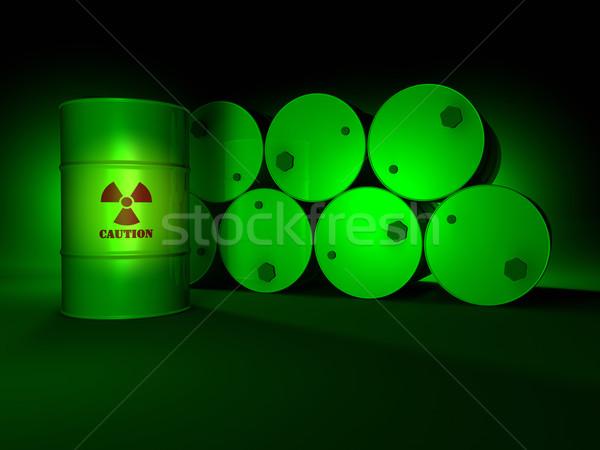 Green Radioactive Barrels Stock photo © ThreeArt