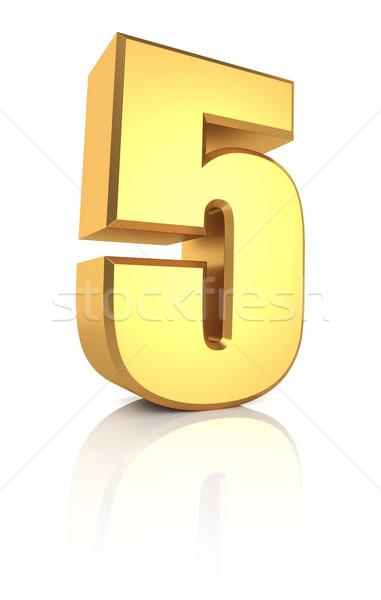 3D aantal gouden geïsoleerd witte Stockfoto © ThreeArt