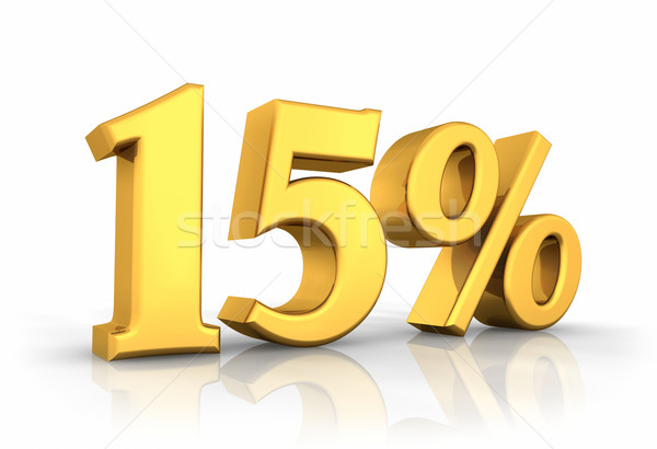 Grama quinze por cento ouro isolado branco Foto stock © ThreeArt