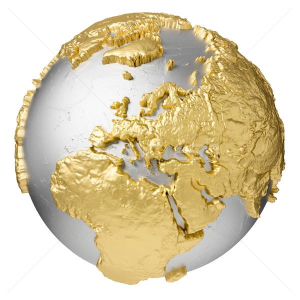 Ouro europa prata globo água 3D Foto stock © ThreeArt