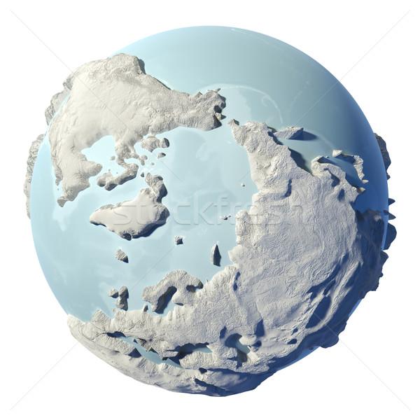 Földgömb 3D tél Föld izolált fehér Stock fotó © ThreeArt