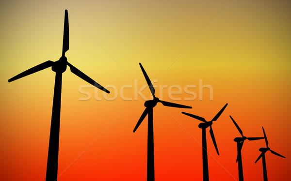 Szélturbina 3D kép naplemente természet kék Stock fotó © tiero
