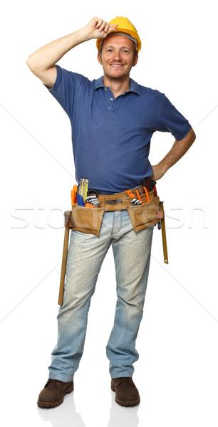 smiling worker on white Stock photo © tiero