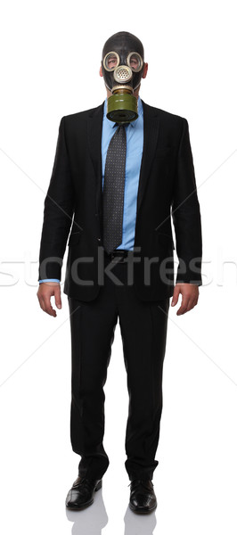 Man gasmasker permanente geïsoleerd witte abstract Stockfoto © tiero