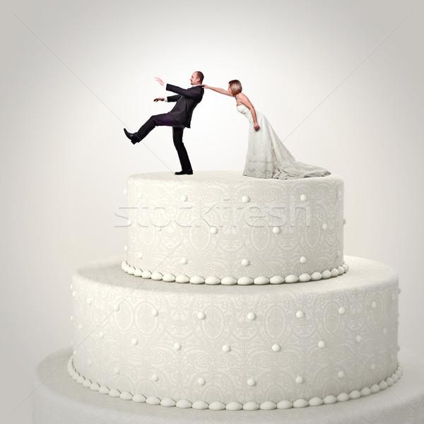 Сток-фото: свадьба · смешные · торт · 3D · свадебный · торт · пару