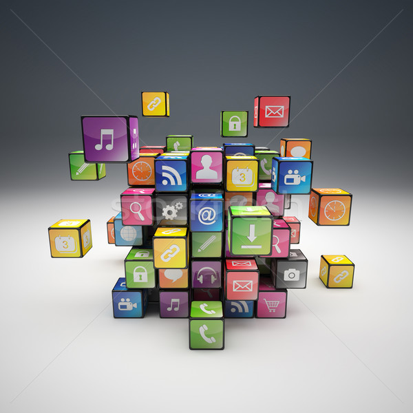 cube icon set Stock photo © tiero