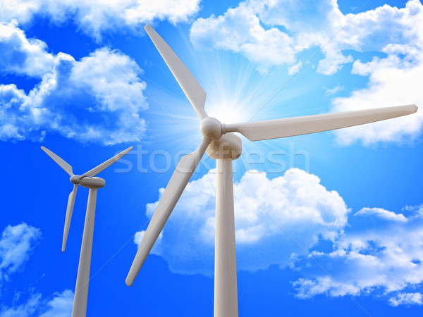 wind turbine and blue sky Stock photo © tiero