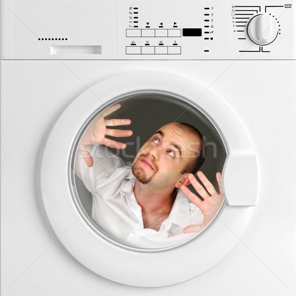 Foto stock: Engraçado · retrato · homem · dentro · máquina · de · lavar · roupa · casa