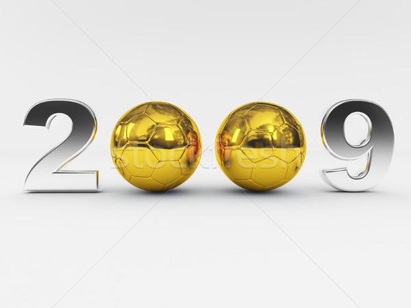 2009 yeni yıl altın top 3D Stok fotoğraf © tiero