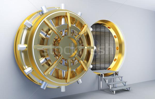 Agykoponya 3D kép arany ajtó pénz Stock fotó © tiero