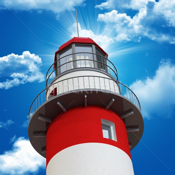 Deniz feneri mavi gökyüzü 3D klasik gökyüzü Stok fotoğraf © tiero