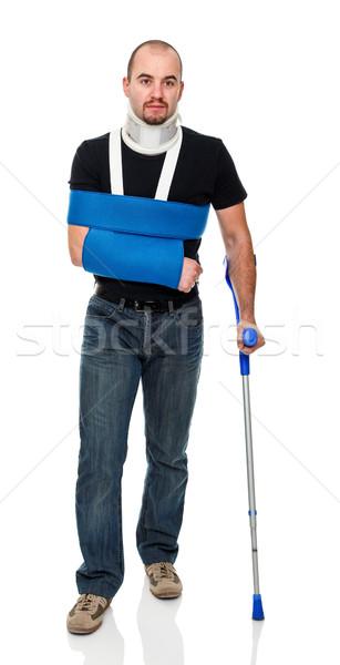 男 松葉杖 若い男 孤立した 白 医療 ストックフォト © tiero