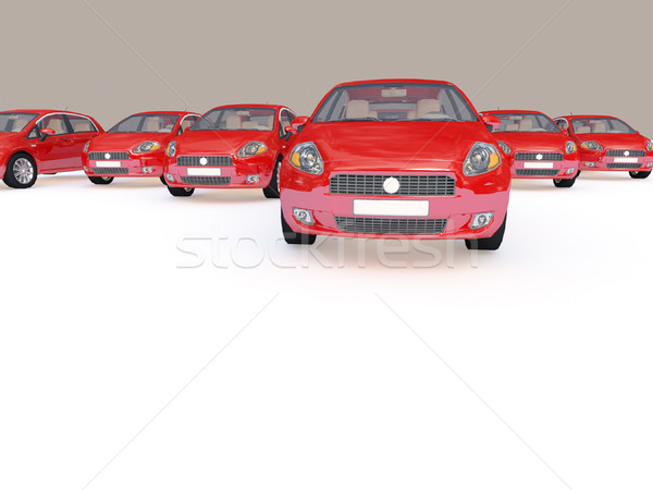 Stock photo: group of red cars