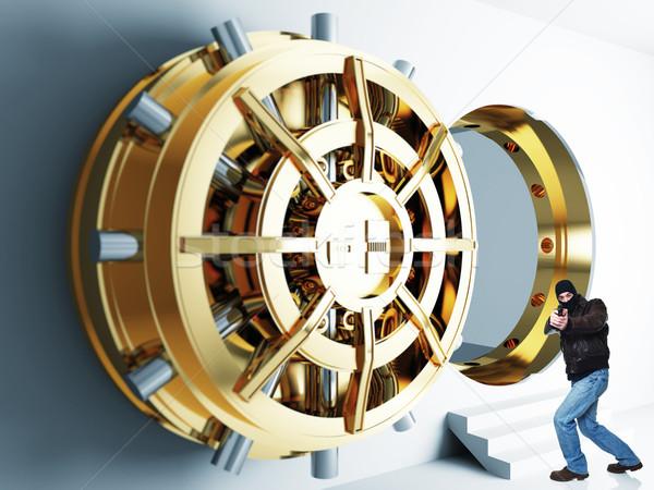 Ladrão ação armado banco dourado Foto stock © tiero
