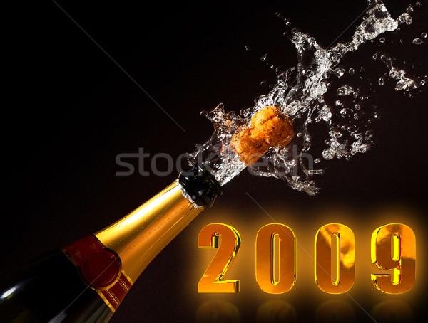 Pezsgő üveg kitörés 2009 dugó új Stock fotó © tiero