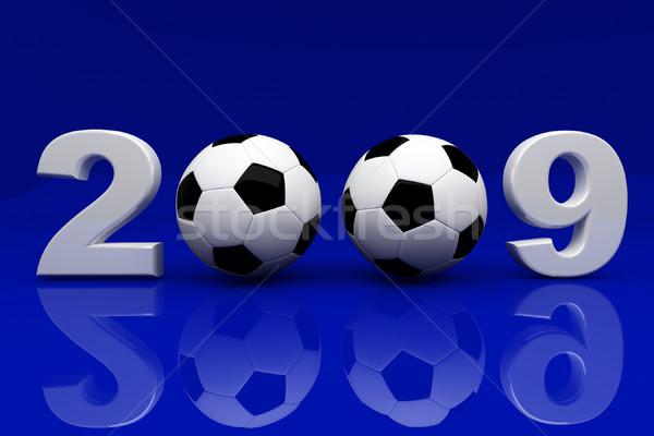 Mavi 2009 3D görüntü futbol topu parti Stok fotoğraf © tiero