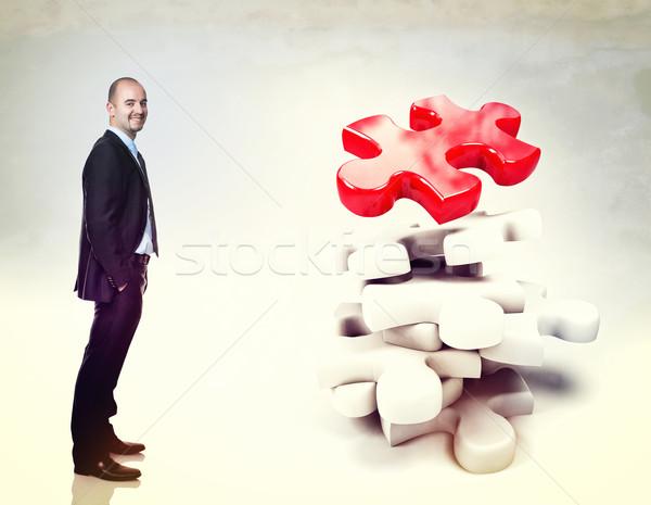 Kirakós játék 3d ember 3D fehér üzletember üzlet Stock fotó © tiero