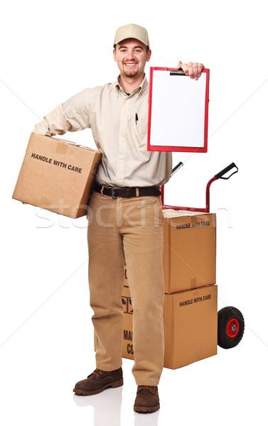Mensajero sonriendo aislado blanco hombre feliz Foto stock © tiero