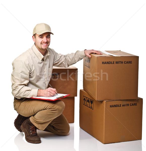 Mensajero trabajo caucásico aislado blanco hombre Foto stock © tiero