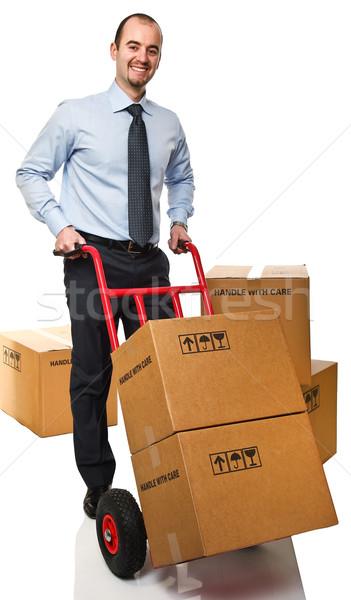 smiling man with handtruck Stock photo © tiero