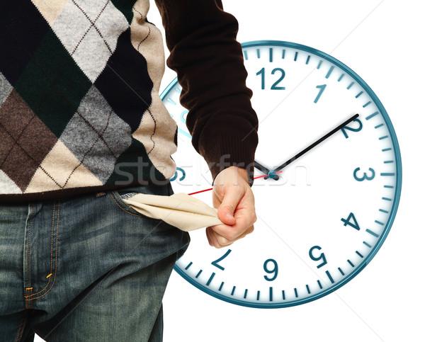 Nincs pénz idő férfi előadás üres zseb Stock fotó © tiero