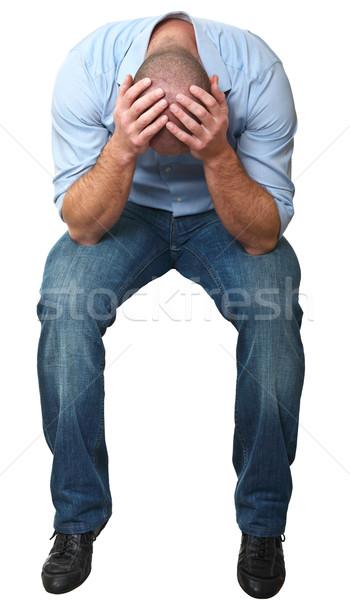 Kétségbeesett ül férfi izolált fehér Stock fotó © tiero
