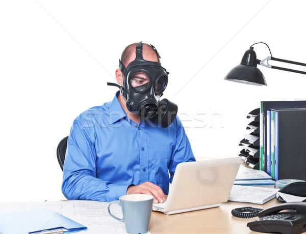 Posta atomi munkás férfi visel gázmaszk Stock fotó © tiero