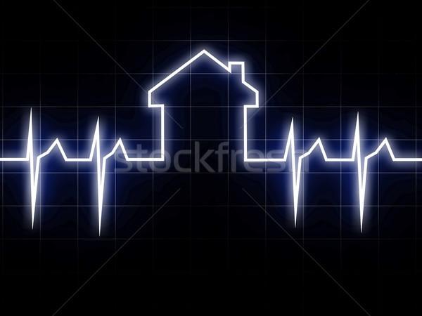 Kardio ház 3D kép absztrakt szív Stock fotó © tiero