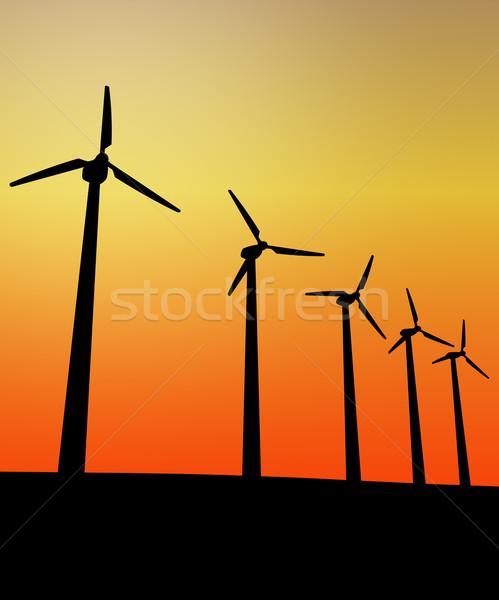 Puesta de sol aerogenerador 3d naturaleza azul industria Foto stock © tiero