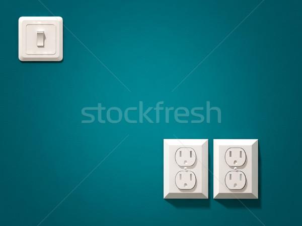 électriques plug 3D image blanche bleu Photo stock © tiero