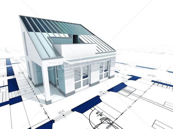 Stockfoto: Huis · 3D · afbeelding · moderne · blauwdruk · gebouw