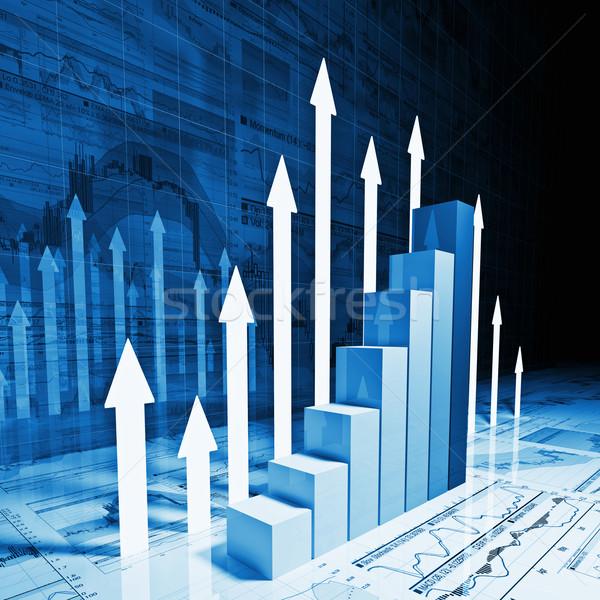 Zdjęcia stock: Finansowych · wykres · 3D · obraz · wykres · biznesowych · biały